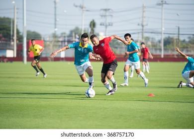 HUAHIN THAILAND-JAN28,2016: Rodrigo maranhao (R) of port fc in action during friendly match pre-season between port fc and hunhin city at True arena huahin on january,2016