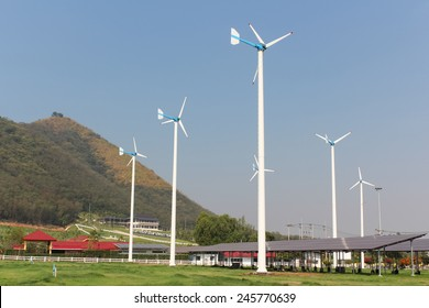 Huahin, Thailand-January18,2015:A View of Solar Panels and Wind Turbine in the Field at Chang-Hua-Mun, Royal Initiative Project, Huahin Thailand.