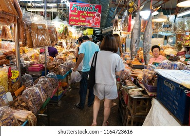 HUAHIN,THAILAND-AUGUST 25 Unidentified Tourist Shopping at Chat Chai Local Market in Huahin on August 25,2018