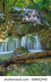Huai Lao Waterfall  in rain forest at Loei Province in Thailand , Soft focus