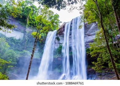 ?The Huai Luang waterfall is located inside the Phu Chong Na Yoi National Park,Ubon Ratchatani. Family life rural Thailand.