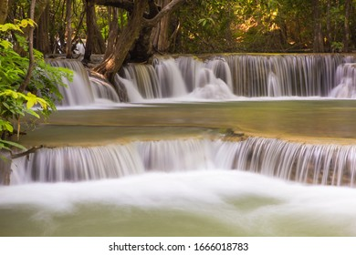 Huai Mae Kamin is beautiful waterfall in deep of forest at Erawan national park Kanchanaburi, Thailand