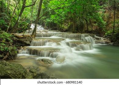 Huai Mae Kamin waterfall Srinakarin Dam in Kanchanaburi, Thailand.
