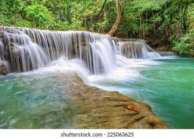 Huai Mae Khamin  Fresh Waterfall in forest in national park, Thailand