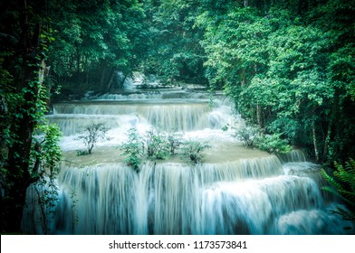 Huai Mae Khamin waterfall after the rain, Kanchanaburi, Thailand