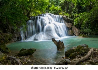 Huai Mae Khamin Waterfall, beautiful waterfall in the rainy season, Kanchanaburi, Thailand
