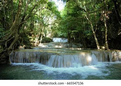 Huai Mae Khamin Waterfall,  a beautiful waterfall in Kanchanaburi province,thailand