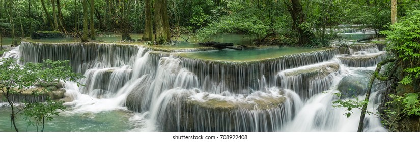 Huai Mae Khamin Waterfall (Fourth floor), tropical rainforest at Srinakarin Dam, Kanchanaburi, Thailand.Huai Mae Khamin Waterfall is the most beautiful waterfall in Thailand. Unseen Thailand