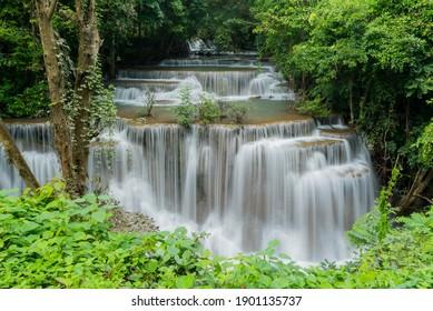 Huai Mae Khamin waterfall at Kanchanaburi , Thailand , beautiful waterfall