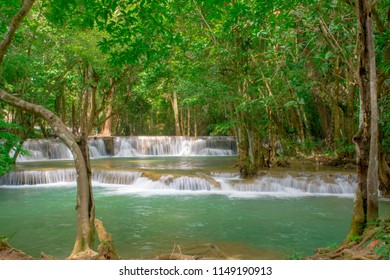 Huai Mae Khamin Waterfall natural attractions and nationnal park on the lake.it beautiful waterfall in thailand.