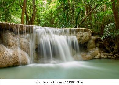 Huai Mae Khamin Waterfall Natural attractions. National Park on the Lake, Srinakarin Dam, Kanchanaburi, Thailand