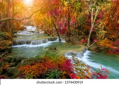 Huai Mae Khamin Waterfall tier , Khuean Srinagarindra National Park, Kanchanaburi, Thailand