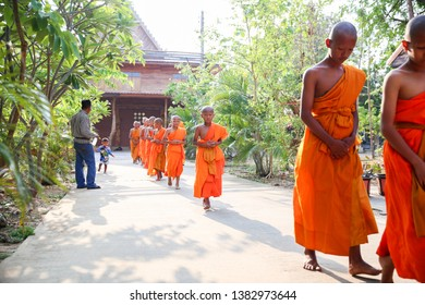 Huai Rat/Buriram - April 3, 2019:  Novices is ordained as novices in the 2nd  Summer Novice Ordination Ceremony in Watprasatsoong, Huai Rat.
