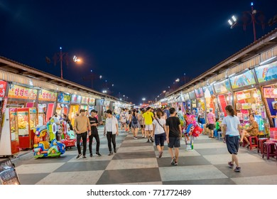 Hualien, AUG 14: Night view of the Tungtamen night market on AUG 14, 2017 at Hualien, Taiwan