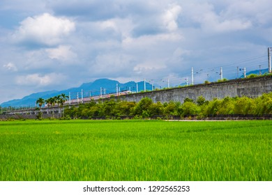 Hualien countryside village and train scenery in eastern Taiwan