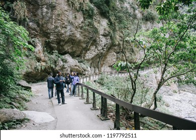 Hualien, Taiwan - April 7, 2018: Taroko National Park is one of the nine national parks in Taiwan. This national park is popular for tourists that hiking trails.