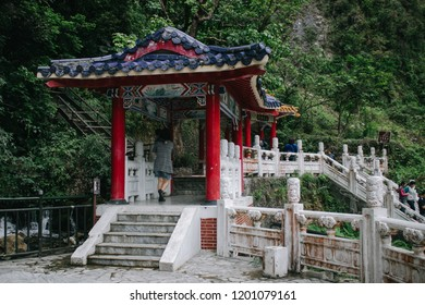 Hualien, Taiwan - April 7, 2018: Eternal Spring Shrine (Chinese temple) in Taroko national park, Hualien, Taiwan.