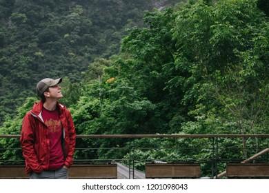 Hualien, Taiwan - April 7, 2018: A man looking the nature viewat Taroko National Park, Hualien, Taiwan.