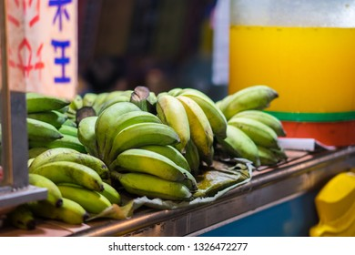 Hualien, Taiwan - Mar 27 2013: Fruits and smoothies sold at Dongdamen night market in Hualien.