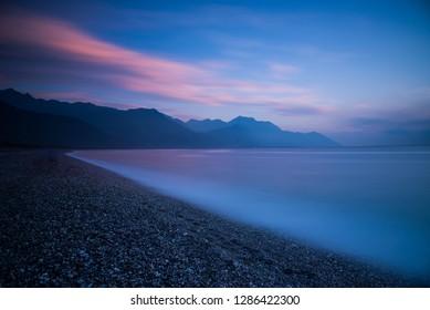 Hualien, Taiwan - May 25 2015: Time Lapse Picture taken at Qixingtan (Chihsingtan) Beach in Taiwan