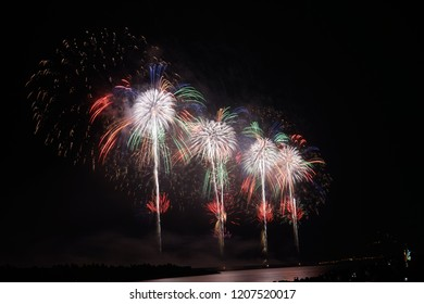 Hualien, Taiwan - Oct. 10, 2018: Amazing national birthday fireworks around the port of Hualien, Taiwan.