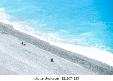 Hualien/Taiwan - March 24th, 2017: Fisherman on the hualien beach. where is belong to pacific ocean