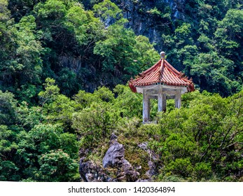 HUALIEN/TAIWAN-MAY 11 2019: A close up of the Cimu Pavilion on the marble canyon rocks in Hualien Taiwan