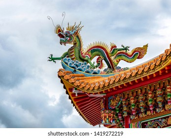 HUALIEN/TAIWAN-MAY 11 2019: Close up detail of colorful dragon on the roof of Kang Ten Temple in Hualien Taiwan with copy space.