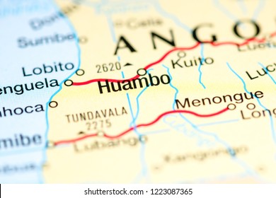 Huambo, Angola. Africa on a map