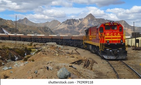 Huancayo, Peru - July 28th, 2014: A cargo train at the Gallera station on the Ferrocarril Central line near Huancayo, Peru.