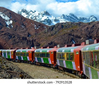Huancayo, Peru - July 28th, 2014: The Ferrocarril Central between Lima and Huancayo, Peru. Crossing the Andes, this train is the 2nd highest train in the world.