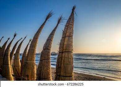 Huanchaco Beach and the traditional reed boats (caballitos de totora) - Trujillo, Peru
