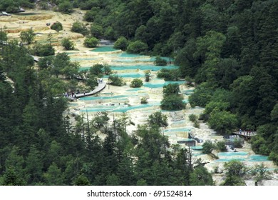 Huanglong China, view of valley with colorful ponds