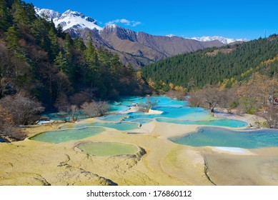 Huanglong colorful pools formed by calcite deposits. Sichuan, China