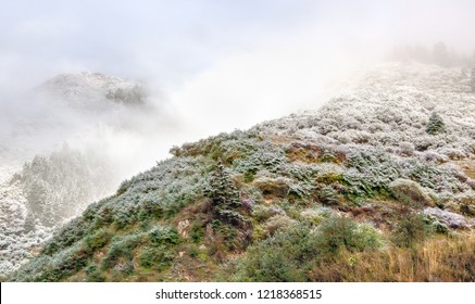 Huanglong National Park near Jiuzhaijou valley after snowfall - SiChuan, China.