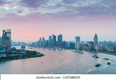 huangpu river bend in early morning, beautiful shanghai landscape with rosy dawn