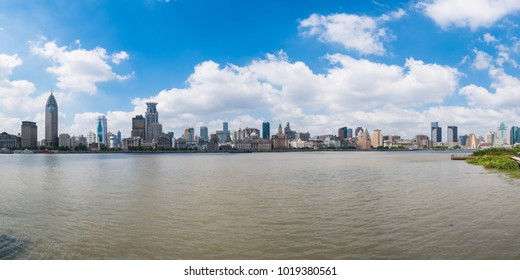 In the Huangpu River overlooking the panoramic view of Shanghai city skyscrapers