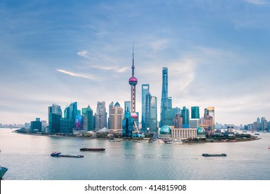 huangpu river and shanghai skyline at dusk ,China