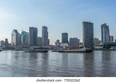 Huangpu river sunset view in Shanghai, China