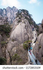 Huangshan, Anhui, China - April 12, 2017: The beauty of Huangshan attracts flocks of tourists everyday. It is one of the most popular tourists attractions in China.