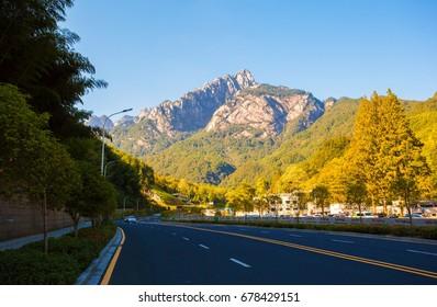 HUANGSHAN, ANHUI/CHINA-OCT 10: Mountain Huangshan scenery Oct 10, 2016 in Huangshan, Anhui, China. The picture is south gate(main gate) area scenery.