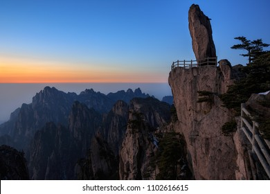 Huangshan China, Flying Over Rock - Feilai Stone, National Park, Anhui Province, Mountain Peak, Viewing Platform, Sunset with Beautiful Horizon, Jagged Cliffs, Chinese Mountain Landscape