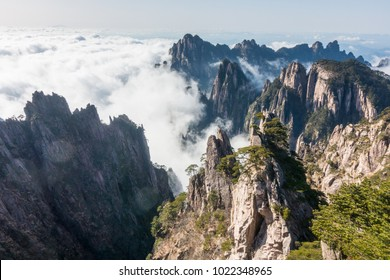 Huangshan, a mountain range in southern Anhui province in eastern China.  UNESCO World Heritage site.
