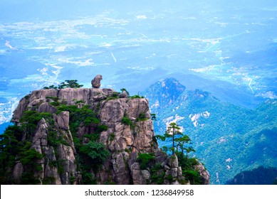 """Huangshan """"Stone Monkey Gazing at the Sea"""". Located at Anhui province China, Huangshan is a UNESCO World Heritage Site and one of China's major tourist destinations."""