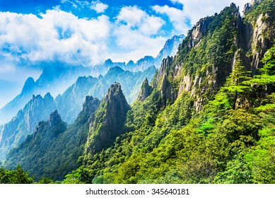 Huangshan (Yellow Mountains), a mountain range in southern Anhui province in eastern China. It is a UNESCO World Heritage Site, and one of China's major tourist destinations.