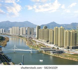 Huangyan city riverside scenery building in Zhejiang province China