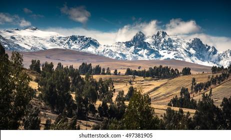 HUARAZ, PERU: Landscape of snow mountain in the andes, near Huaraz, Peru.