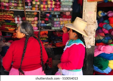 HUARAZ, PERU - SEPTEMBER 12, 2015: The local markets are the main meeting point for peruvian indigenous people to trade with different products.