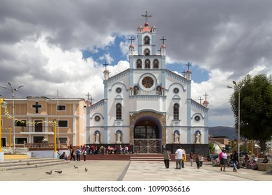 Huaraz, Peru - September 20, 2015: Exterior view of a Church Soledad with people in front