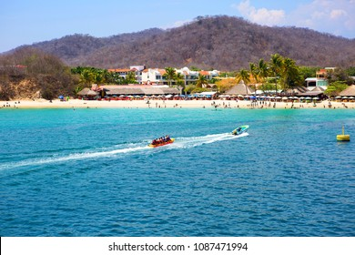 Huatulco, Mexico, 03/06/2016, Beach. Huatulco Bay is a picturesque area with amazing mountains, slopes, val